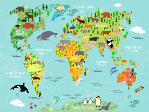 Poster Mappemonde des animaux (allemand)