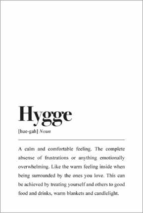 Poster  Définition de Hygge (anglais) - Pulse of Art