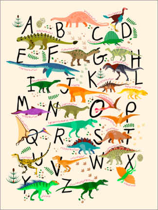 Tableau en plexi-alu  Alphabet dino - Kidz Collection