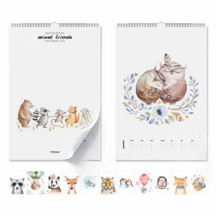 Calendrier mural  Animal Friends 2021