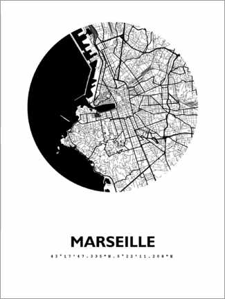 Sticker mural  Plan rond de la ville de Marseille - 44spaces