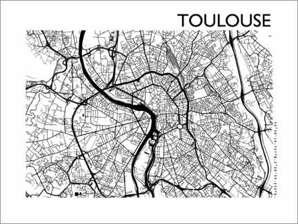 Poster  Plan de la ville de Toulouse - 44spaces