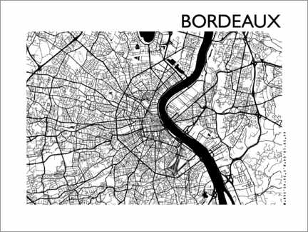 Sticker mural  Plan de la ville de Bordeaux - 44spaces