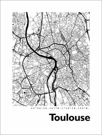 Sticker mural  Plan de Toulouse - 44spaces