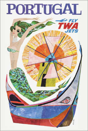 Tableau sur toile  Portugal, Fly Twa Jets - Travel Collection