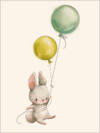 Sticker mural  Lapin avec des ballons - Kidz Collection