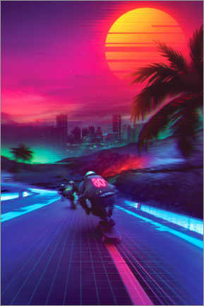 Poster  Synthwave Midnight Outrun - Denny Busyet
