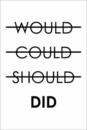 Tableau en aluminium  Would, could, should, did - Typobox