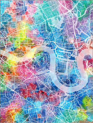 Tableau en plexi-alu  Plan multicolore de Londres - Bekim Mehovic