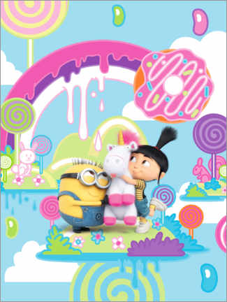 Sticker mural  Minion et licorne