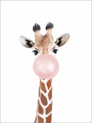 Tableau en aluminium  Bubble gum Girafe - Sisi And Seb