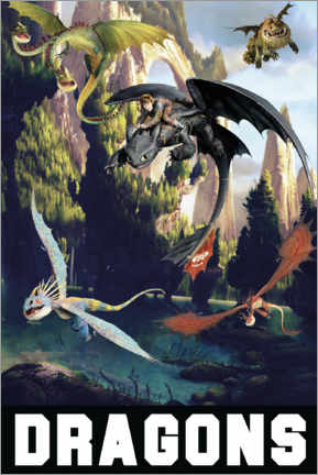 Tableau en verre acrylique  DreamWorks Dragons excursion