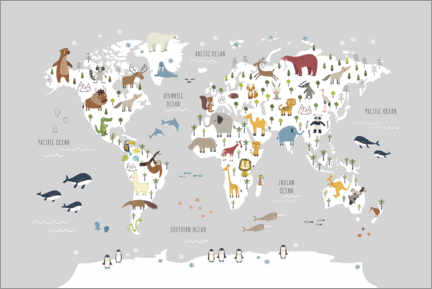 Tableau en aluminium  World map wih animals (grey) - Marta Munte