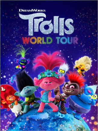 Tableau en plexi-alu  Trolls World Tour - Around the globe
