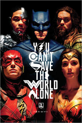 Tableau en bois  Justice League - Can't save the world alone