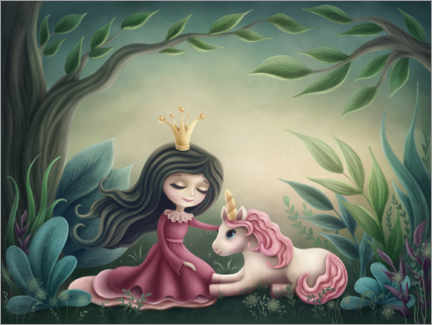 Poster  Princess with unicorn in the magic forest - Elena Schweitzer