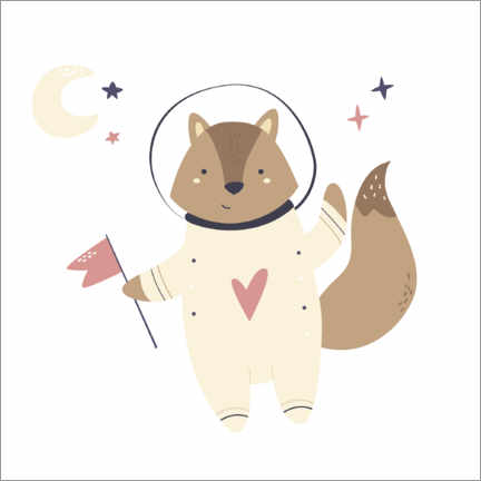 Poster  Little raccoon in space - Kidz Collection