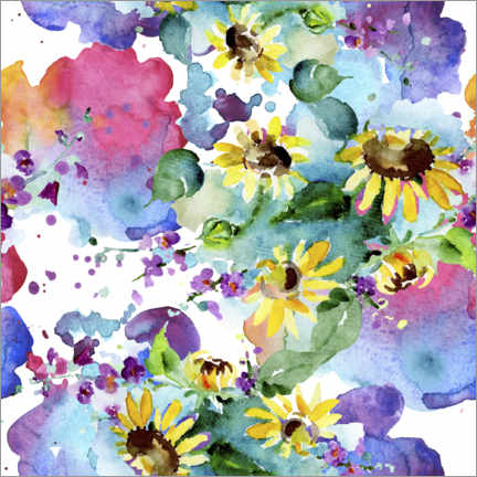 Poster Sunflowers in watercolor