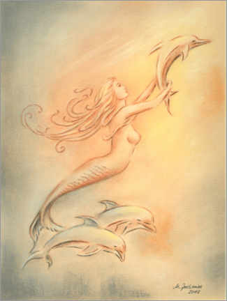Poster  Dolphins angels of the seas - Marita Zacharias