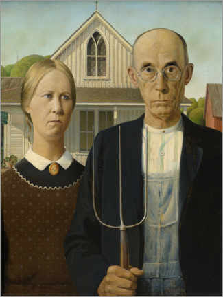 Sticker mural  American Gothic - Grant Wood