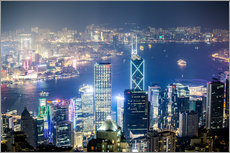Tableau en plexi-alu  Hong Kong city and harbour at night - Matteo Colombo