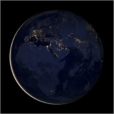 Tableau en plexi-alu  Africa at night - NASA