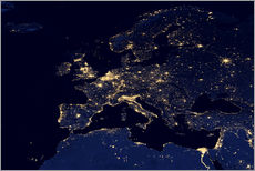 Tableau en plexi-alu  Photo satellite de l'Europe la nuit - NASA