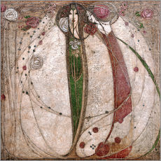Tableau en plexi-alu  La Rose blanche et la Rose rouge - Margaret MacDonald Mackintosh