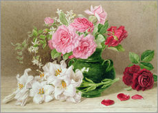 Sticker mural  Roses et lys - Mary Elizabeth Duffield