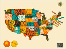 Sticker mural  UNITED STATES Map - Jazzberry Blue