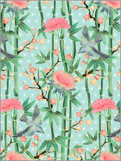 Sticker mural  bamboo birds and blossoms on mint - Micklyn Le Feuvre