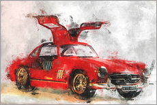 Tableau en plexi-alu  Voiture de collection rouge - LoRo-Art