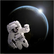 Sticker mural  Astronaut floating in space as the sun rises on to Earth-like planet. - Marc Ward
