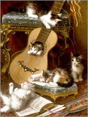 Tableau en plexi-alu  Kittens at play with a guitar - Jules Le Roy