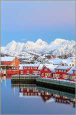 Sticker mural  Pink sunset over the typical red houses reflected in the sea, Svolvaer, Lofoten Islands, Arctic, Nor - Roberto Sysa Moiola