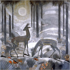 Sticker mural  Two deer in the woods - Jean Dunand