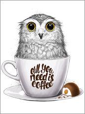 Sticker mural  Owl you need is coffee - Nikita Korenkov