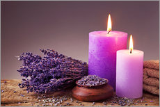 Tableau en plexi-alu  Spa still life with candles and lavender - Elena Schweitzer