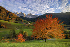 Sticker mural  Funes Valley in autumn, Dolomites, South Tyrol, Italy - Roberto Sysa Moiola