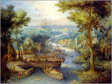 Poster  River landscape with bathing and boats - Jan Brueghel d.Ä.