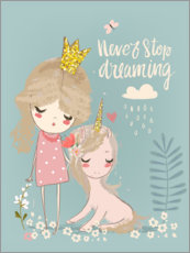 Tableau en aluminium  Never stop dreaming - Kidz Collection