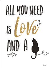 Sticker mural  All you need is love and a cat (anglais) - Veronique Charron