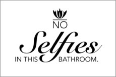 Tableau en bois  No selfies in the bathroom - Typobox