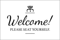 Tableau en aluminium  Please seat yourself - Typobox