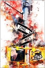 Tableau sur toile  Collection aquarelle, One Way Street - Philippe HUGONNARD