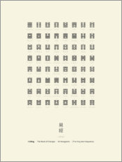 Tableau en bois  I Ching Chart With 64 Hexagrams (King Wen sequence) - Thoth Adan
