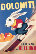 Poster  Lapin skieur dans les Dolomites (italien) - Travel Collection