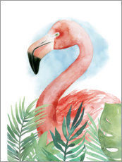 Poster Composition flamant rose II