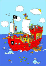 Sticker mural Bateau de pirates