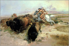 Sticker mural  Chasse au bison, 1897 - Charles Marion Russell